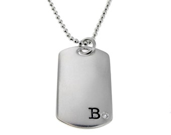 Sterling Silver Diamond Dog Tag Necklace Personalized New Dad Jewelry Initial Date Hand Stamped Engraved Artisan Handmade Designer Jewelry