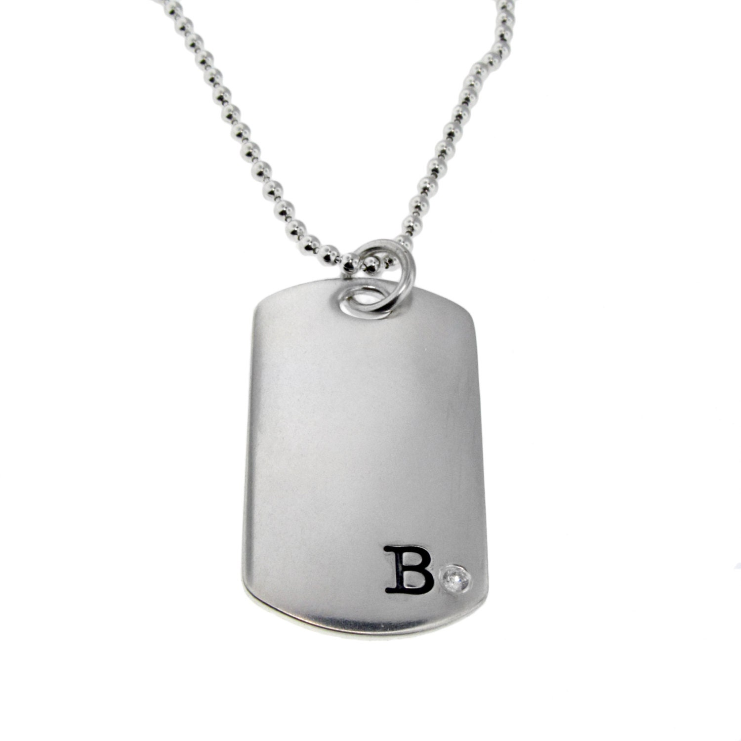 Sterling Silver Diamond Dog Tag Necklace Personalized New Dad