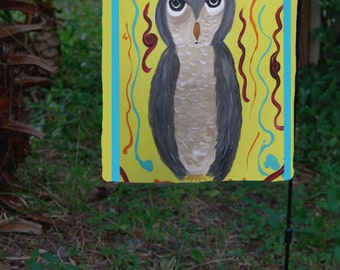 Grey Owl Garden Flag from art. Available in 2 sizes