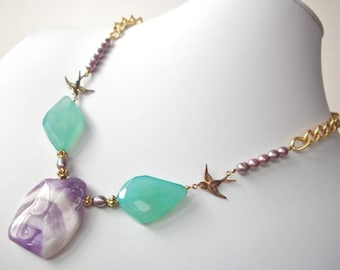 Chevron amethyst necklace, aqua chalcedony gemstone necklace with gold flying birds vintage gold chain and lavender pearls