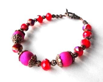 Fuchsia Orange bracelet, boho bracelet in bright purple and tangerine, beaded with copper flligree beads and toggle clasp