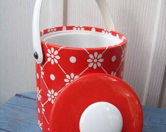 Groovy Vintage Bright Orange Flower Ice Bucket