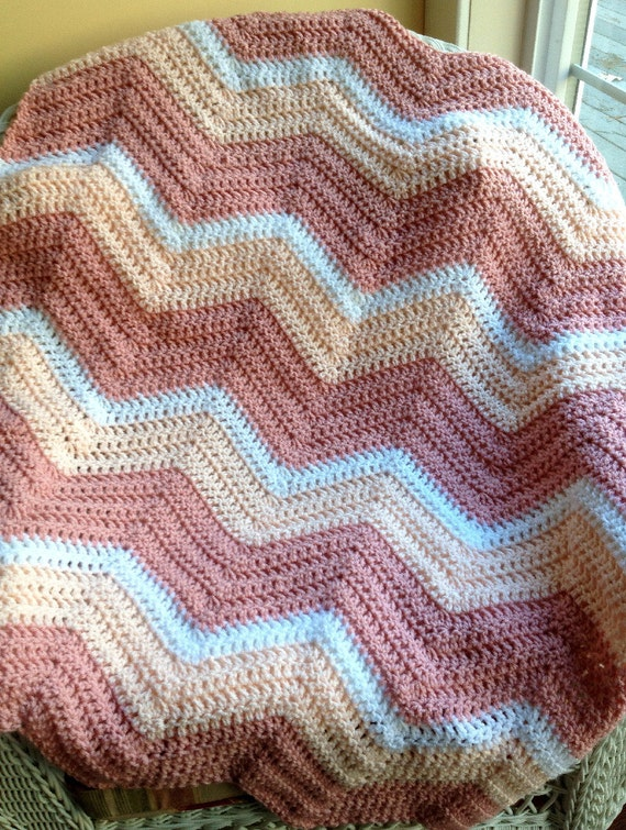 Zigzag Crochet Baby Blanket Patterns : chevron zig zag baby blanket afghan wrap crochet photo prop wheelchair ...