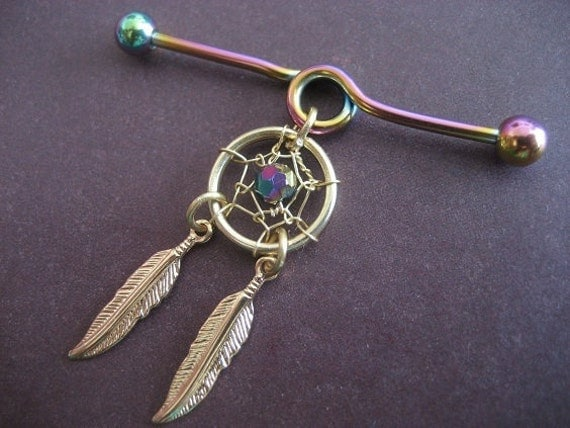 Industrial Piercing Dream Catcher Industrial Barbell 41g Earring Golden Rainbow Dream Catcher 8