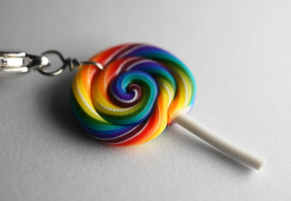 Rainbow Lollipop Charm, Miniature Food Jewelry, polymer Clay Food Charm