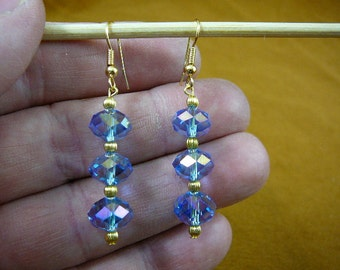 Iridescent light blue faceted 12x8 mm bead gold wire hook dangle pair of hypoallergenic EARRINGS EE-503-103