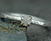 Rough Diamond Stacker Ring in Hammered Sterling Silver with Gold Prong Setting