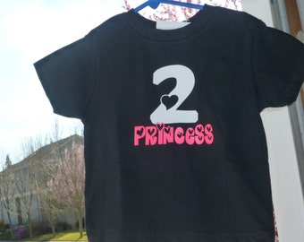 2nd Birthday Baby Girls Princess Design Shirt With Number 2
