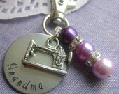 Grandma handstamped, glass pearl, purse charm, keychain. Choose your pearl color.
