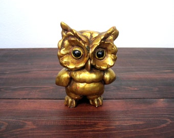 Vintage Kay Finch Gold Owl Figure via Freeman, Mcfarlin CA Pottery