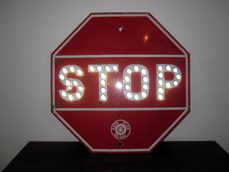 Vintage Cat Eye Glass Marble Stop Sign Retro Enamel Sign