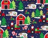 Michael Miller Christmas Fabric Santas Farm Navy 1 yard, yardage available