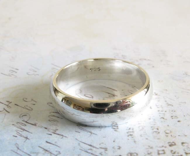 Sterling Silver Wedding Ring Artisan Handmade 6mm Domed