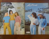 Set of 2 1970s Lee Wards Knitting Patterns, Pullover, Cardigan