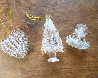 Set of 3 Delicate Glass Ornaments, Whimsies - Candle Holder, Christmas Tree, Heart