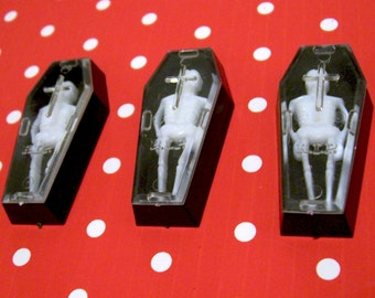 3 Skeleton in Coffin Plastic Charms Vintage