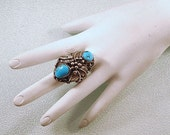 Navajo Native American Sterling Silver and Turquoise Ring