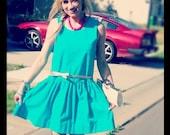 Turquoise Mini Dress sleeveless Handmade drop waist Teal 2-way Summer Dress handmade