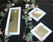 Mirrors White  Wood Framed Set of 3