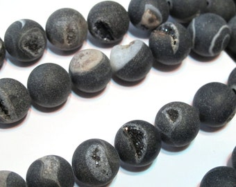 Druzy type round beads black matte large 12mm size beads