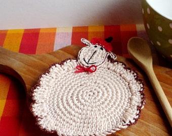 Crochet Sheep Pattern - Crochet Coaster Pattern - Crochet Animal Pattern - Crochet Lamb Tutorial - Sheep Coaster Pattern - Lamb Coaster