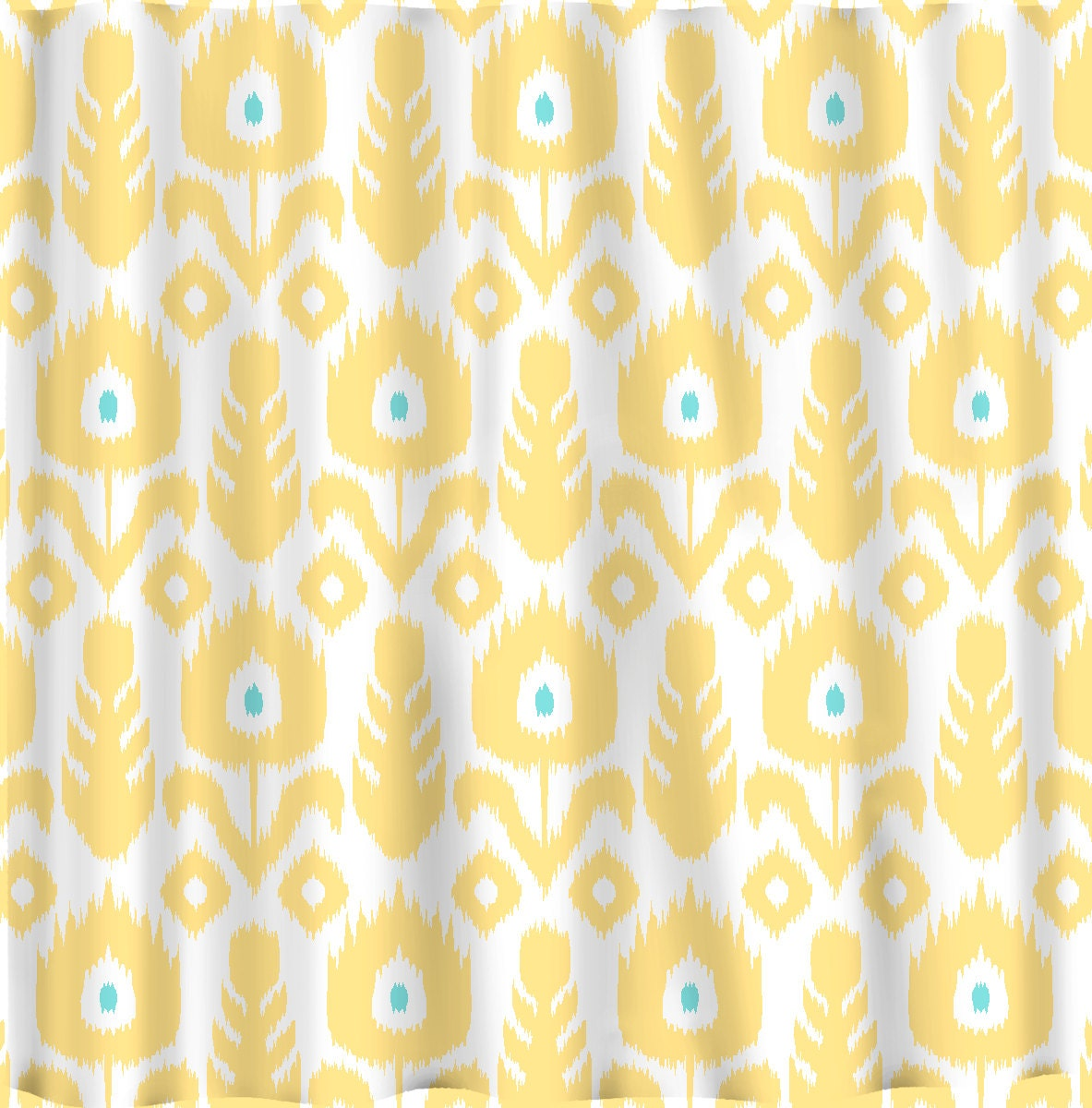 Navy ikat curtains - Custom Ikat Chevron Shower Curtain Any Color Shown Yellow Wht Turq