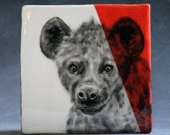 Hand Painted Hyena Portrait Wall Tile Coral Red