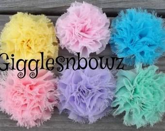 Set of 6 Fluffy SNoWBaLL Shabby Frayed Chiffon Puff Flowers- PeTiTE SIZE