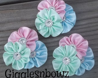 PeTiTE SiZE Set of 3 Embellished Satin CLuSTeR Flowers- Pretty Pastels-2.5 inch Size