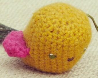 Yellow Amigurumi Crochet Bird - Peacock Feather