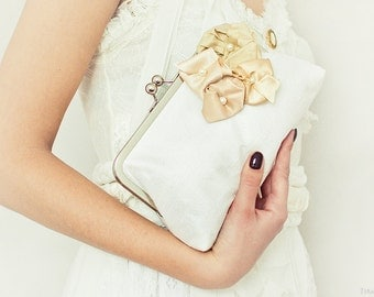 Floral purse, ivory and champagne clutch, ivory silk purse, beaded flowers, bridesmaid purse, silver kisslock frame clutch, large size purse