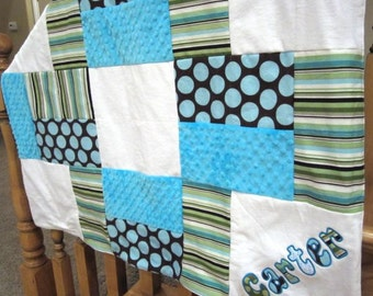 Personalized Minky Quilt in Turquoise, Green and White patch quilt, baby blanket, crib blanket, toddler bedding, patch quilt, brown stripe