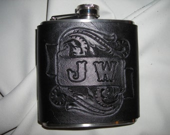 Flask wrapped leather with hand carved scroll design add your own initials