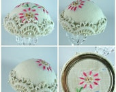 Pincushion, Flapper Hat Style, Jewelry Display, Deco, Hat Pin Stand, Pinkeep, Embroidery