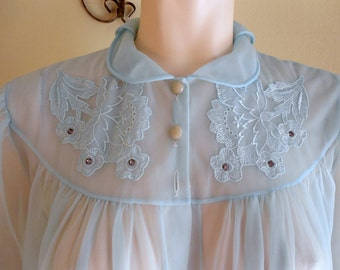 Vintage Robe Nightgown sheer peignoir 1960s Pin up