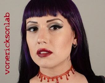 Zombie Jewelry Blood drip - Halloween Jewelry - Natural Bloody Drip   Necklace - Vampire Slit throat  choker  necklace