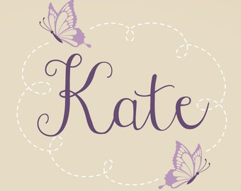 Butterfly Name Wall Decal - Butterfly Wall Decal - Butterfly Nursery Decor - Baby Girl Name Decal