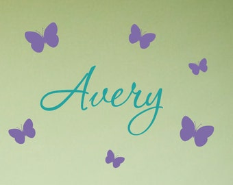 Butterfly Name Decals, Custom Name Decals, Childrens Name, Name Decal with Butterflies, Butterfly Wall Art, Girls Nursery, Baby Girl Nursery