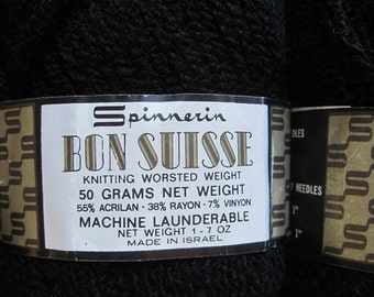 Spinnerin Bon Suisse Yarn Black Acrylic Knitting Worsted Weight 6 50 GR Skeins