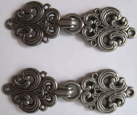 Metal Sweater Clasps Set of 5 Silvertone Scroll Design Sweater Closures Hook and Eye Closures
