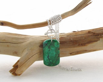 Argentium Silver Necklace with a Green Turquoise Cabochon