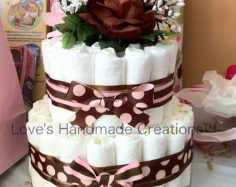 Baby Girl Pink and Brown Diaper Cake