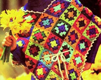 INSTANT DOWNLOAD PDF Vintage Crochet Pattern    Granny Square  Poncho Retro