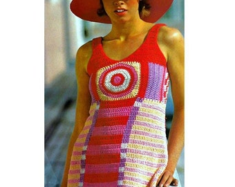 INSTANT DOWNLOAD PDF Vintage Crochet Pattern    Geometric  Granny Square Mini Dress Tunic Cover Up  Retro