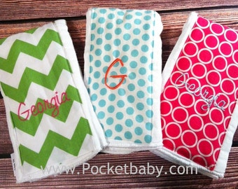 Personalized - Set of 3 Burp Cloths - You Choose your Fabric - Baby Shower Gift