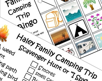 Kids Personalized Camping Bingo And Scavenger Hunt Or I Spy