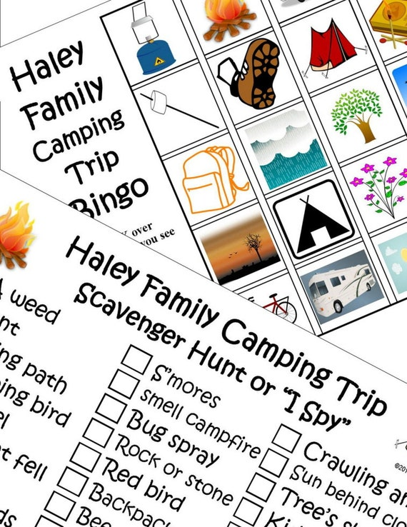 Printable Travel Games Kids Personalized Camping Bingo And