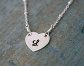 Reserved for Sandi - heart charms only - Personalized tiny heart necklace, Handstamped initial heart necklace