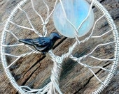 Blackbird Singing in the Dead of Night Pendant - Original Tree of Life Design by Ethora