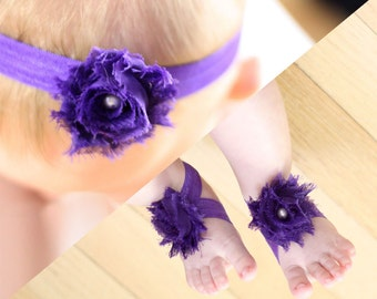 BOGO Purple Baby Barefoot Sandals and Headband Sale